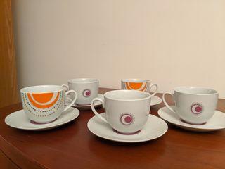 Juego 5 tazas café con leche con plato