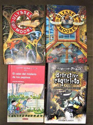 4 libros aventura, misterio, intriga..de 5 y 8€.