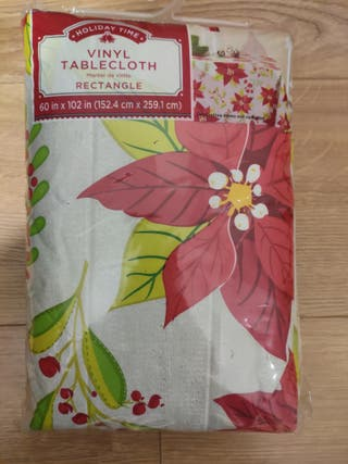 Christmas Vinyl Table Cloth New 60x102 inches
