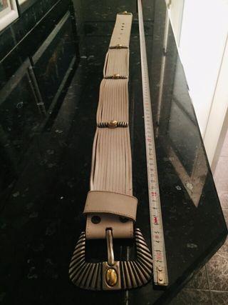 Cinturón de piel blanco original