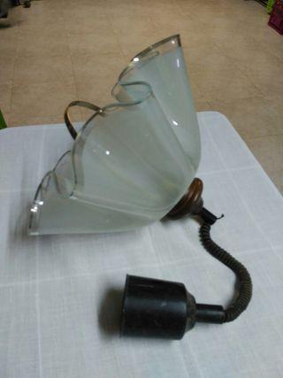 Lámpara cristal, metal y madera