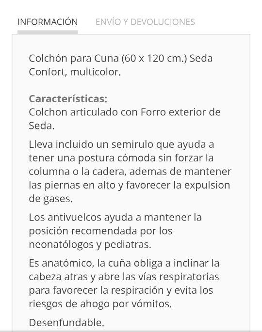 Colchón cuna 120x60 Seda Confort modelo Golihat