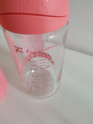 biberón cristal tetina redonda anticólico