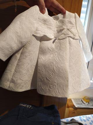 vestido con gorrito bautizo niña 6 mese