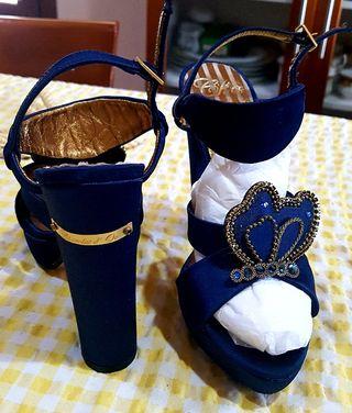 sandalias azules , para fiesta