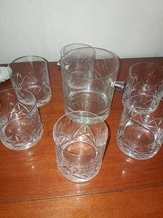 JUEGO 6 vasos bajos tallados y cubo de hielo