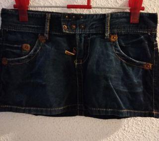 Minifalda pana azul marino. Talla 36