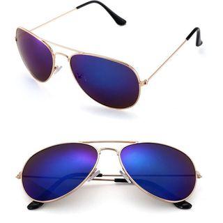 Gafas Piloto con Espejo Azul de Sol Aviador Dorado