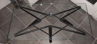 Mesa centro cristal y metal