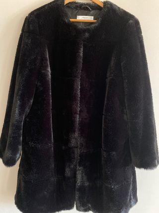 Mango abrigo pelo negro talla L