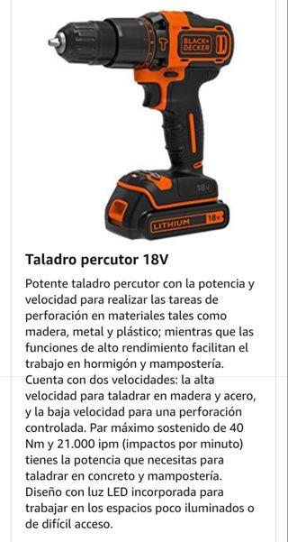 taladro percutor batería 18v + lijadora bateria