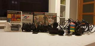 PS2 con 4 juegos, accesorios