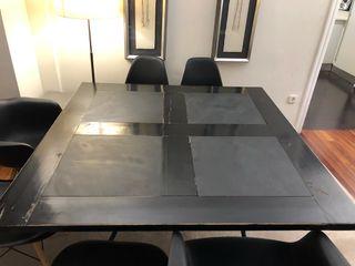 Mesa comedor cuadrada madera negra