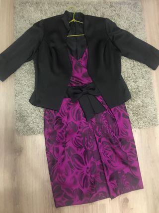 Vestido señora fiesta fucsia y negro