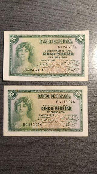 LOTE DE 3 BILLETES DE 5 PESETAS BANCO DE ESPAÑA