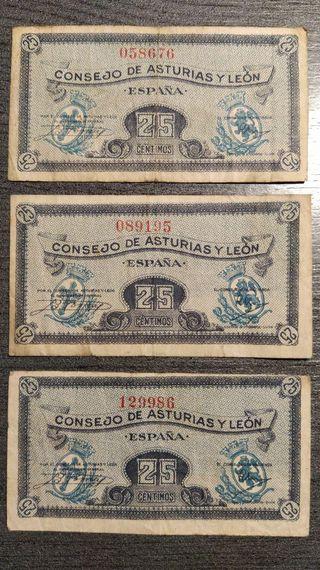 LOTE DE 3 BILLETES DE ESPAÑA DE 25 CENTIMOS DEL CO