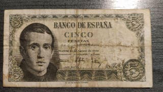 BILLETE DE 5 PESETAS DEL1951 DE JAUME BALMES SERIE