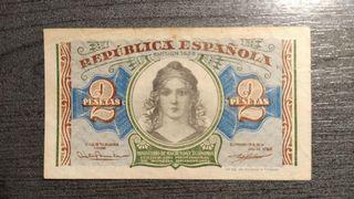 Billete de 2 Pesetas de La Republica Española 1938