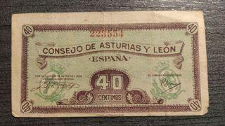 BILLETE DE 40 CENTIMOS DEL CONSEJO DE ASTURIAS Y L