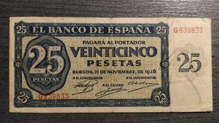 Billete de 25 pesetas 1936 Burgos