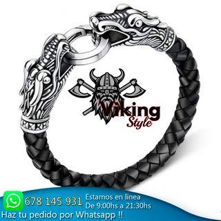 Pulsera vikinga de cuero trenzado dragón unisex