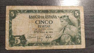 BILLETE DE 5 PESETAS ALFONSO X DE 1954 SERIE Q