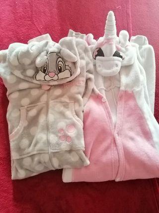Pijamas niña unicornio y conejo