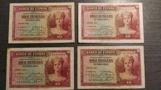 LOTE DE 3 BILLETES DE 10 PESETAS CERTIFICADO DE PL