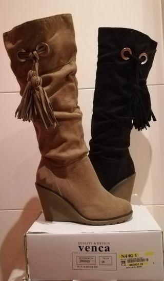 Dos pares de botas cuña 38 lote outlet Venca