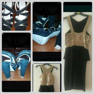 Vestido fiesta+ sandalias tacon o Zapato