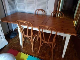 mesa comedor y 6 sillas madera