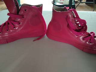 zapatillas converse piel rosa fucsia