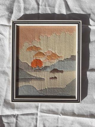 precioso tapiz. Paisaje creado en lana