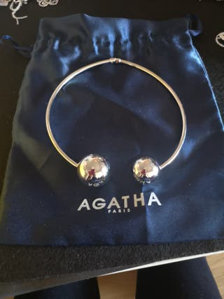 gargantilla esfera rígida plata agatha