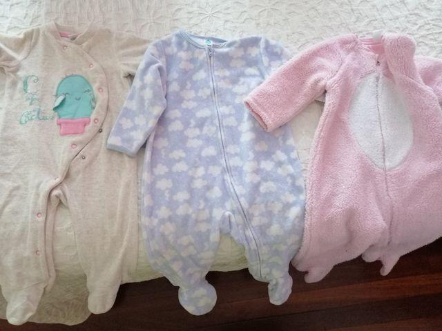 Tres pijamas polares talla 9m y 12m