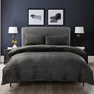 Charcoal grey teddy bear fleece duvet