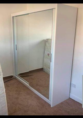 white double sliding wardrobe