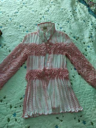 Blusa seda rosa vintage. M