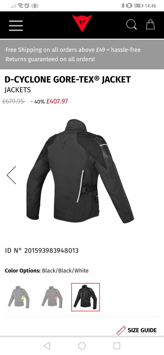 DAINESE D-CYCLONE GORE-TEX JACKET BLACK/WHITE