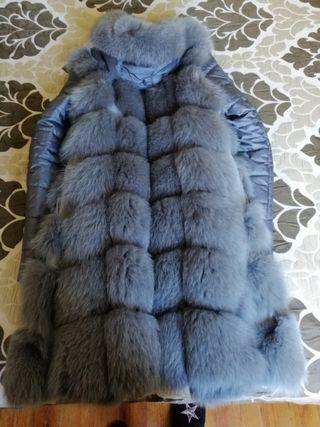 abrigo con piel de zorro natural(usado solo 1 vez)