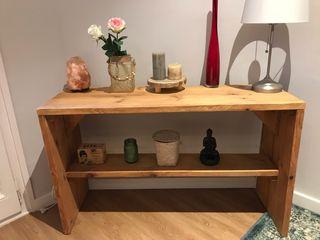 Precioso mueble recibidor madera nogal colonial
