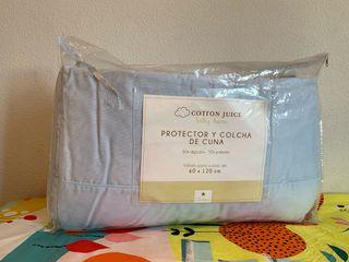 Protector y colcha de cuna