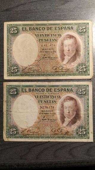 LOTE DE DOS BILLETES DE 25 PESETAS DE 1931 VICENTE