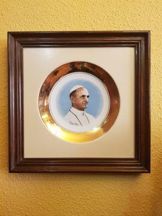 Platos cerámica enmarcados Pablo VI y Juan XXIII
