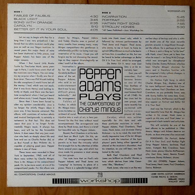 """PEPPER ADAMS """"PLAYS CHARLIE MINGUS"""" LP"""