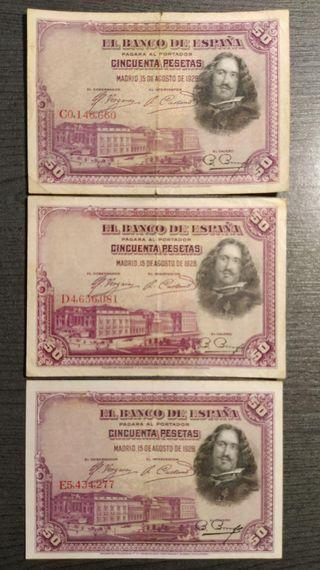 LOTE DE 3 BILLETES DE 50 PESETAS 1928 SERIES CORRE
