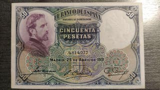 BILLETE 50 CINCUENTA PESETAS 1931 MBC