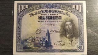 BILLETE 1000 PESETAS AGOSTO 1928 SAN FERNANDO SIN
