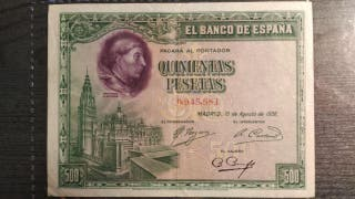 BILLETE 500 PESETAS 1928 .CARDENAL CISNEROS