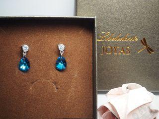Pendientes de plata y cristal de Swarovski nuevos